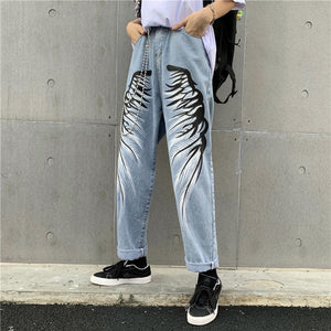 Feather Wings Printed Denim Pants
