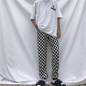 Checkerboard Black And White Plaid Pants