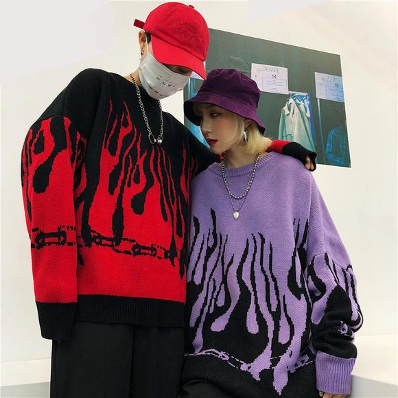 Flaming Loose Knitted Sweater