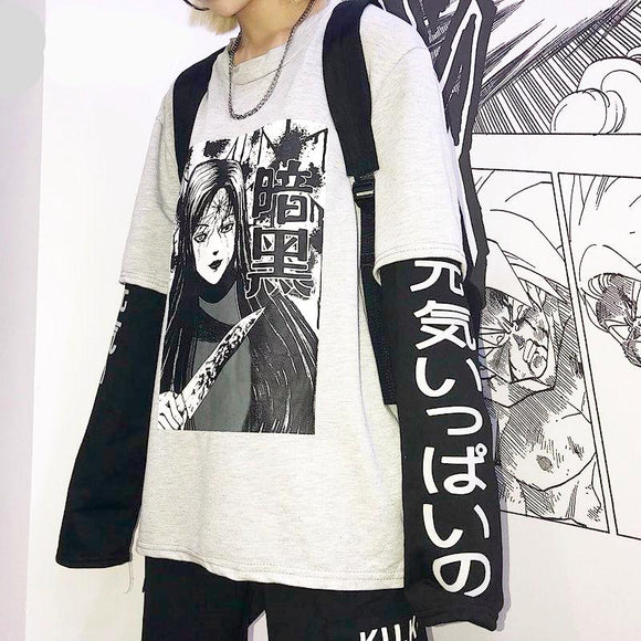 Two piece Manga Graphic long sleeve