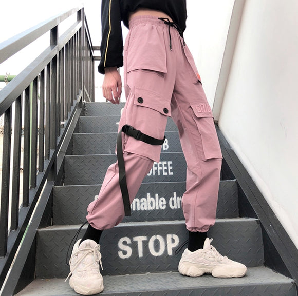 Fitted Pink Cargo Pants W Straps