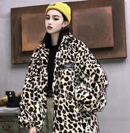 Winter Leopard Print Fur Coat