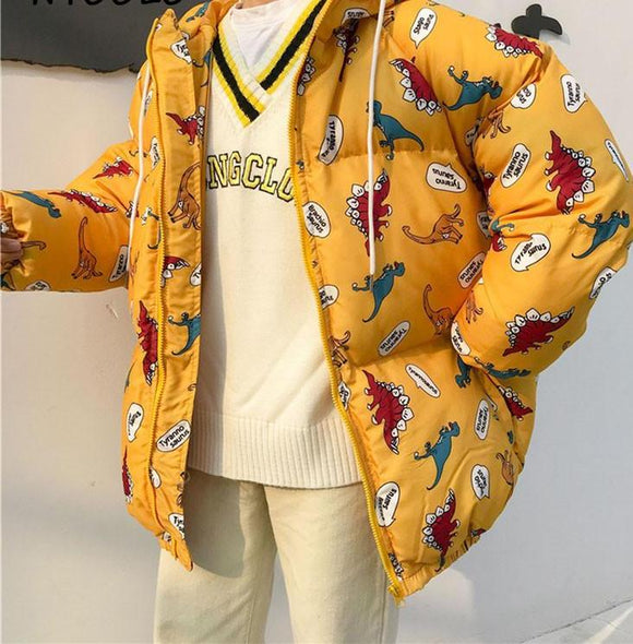 Puffy Cartoon Print Winter Jacket
