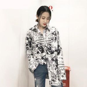 Newspaper Print Long Sleeve Shirt
