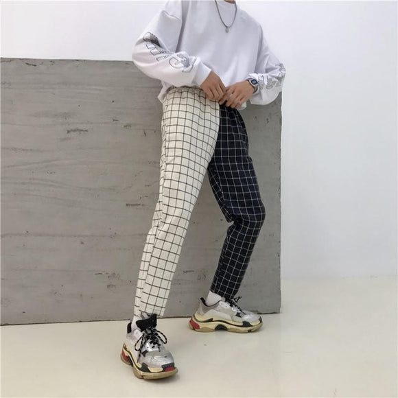 Vintage Patchwork Plaid Track Pants