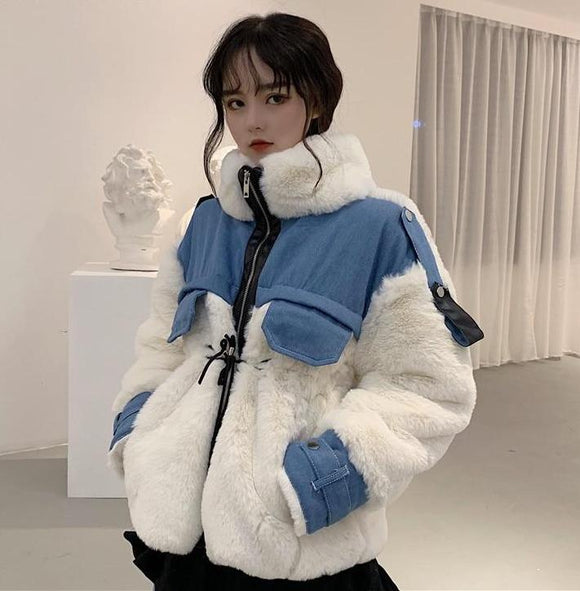 Warm Fluffy Denim Patchwork Jacket