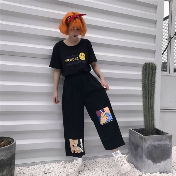 Vintage Anime Print Pants + 'Nice Day' Shirt (Full Fit)