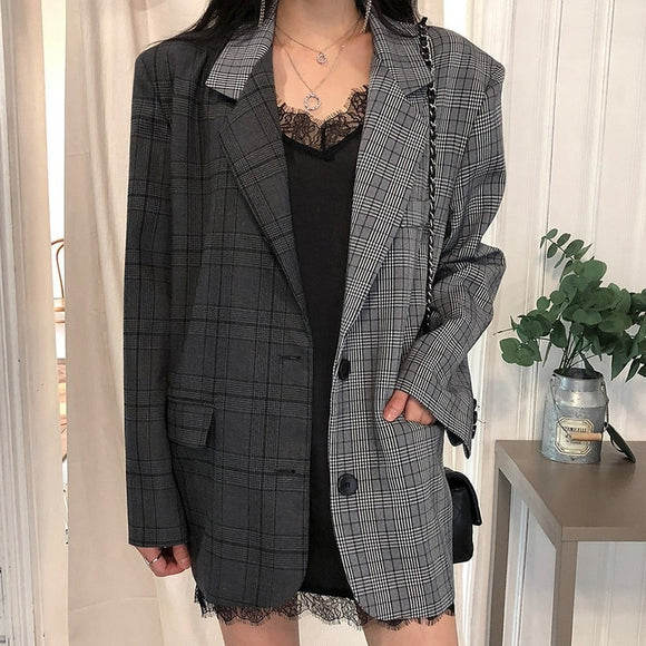 Half & Half Plaid Blazer Jacket