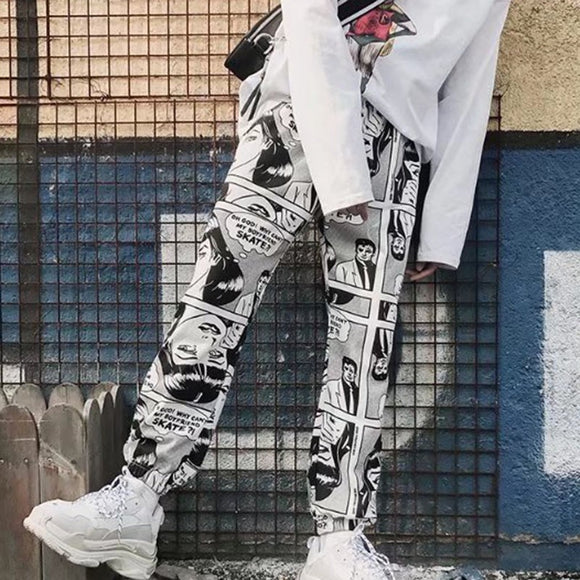 Cartoon Print Elastic Waist Pants