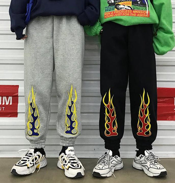 Flame print Elastic Ankle Sweatpants
