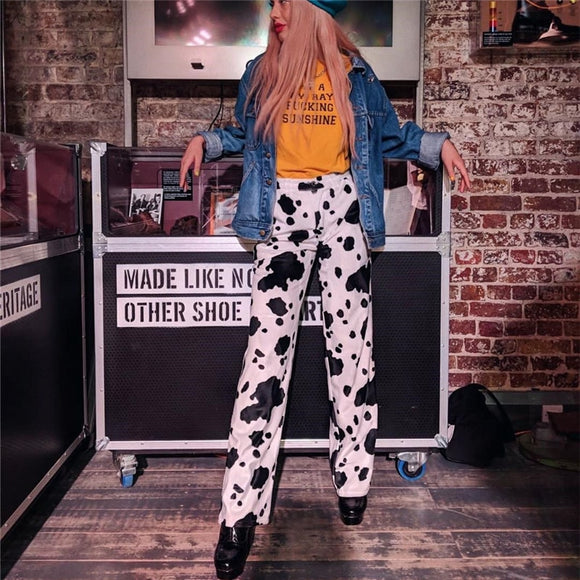 Loose Cow Print Elastic Pants