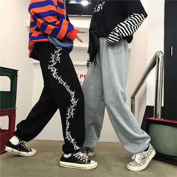 Thorn Print Baggy Sweatpants