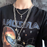 Multilayered Punk Style Silver Chains