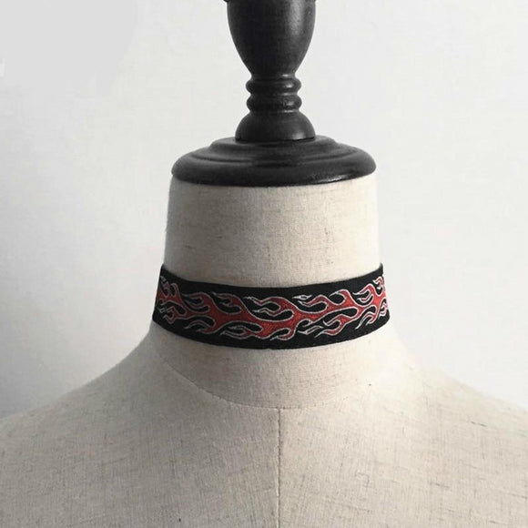Punk Flame Embroidered Adjustable Choker