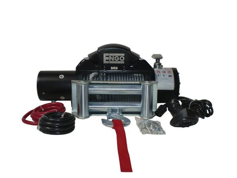 Electric Winch 9,000 LB (4091kg) 12 Volt Black Satin Finish SR Model ENGO