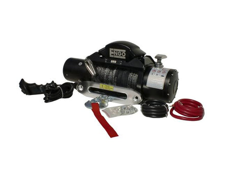 Electric Winch 9,000 LB (4091kg) 12 Volt W/Synthetic Rope Black Satin Finish SR Model ENGO