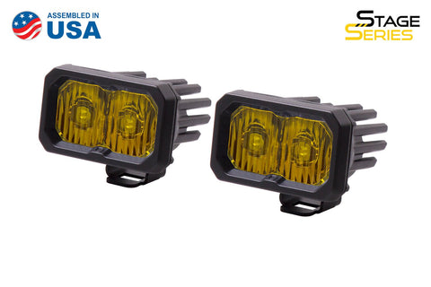 Stage Series 2 Inch LED Pod, Sport Yellow Driving Standard ABL Pair