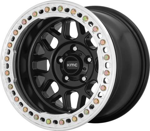 KMC Wheels KM235 Grenade Crawl Beadlock Wheel (Satin Black) 17x9 5x5 - Jeep JK/JL/JT