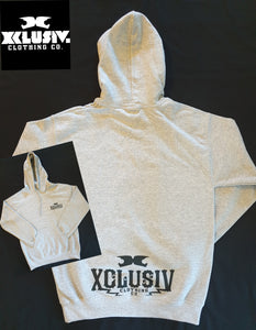 XCLUSIV Light Grey tubular cut hoodie