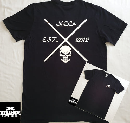 Black t shirt with XCCo. Chrome design