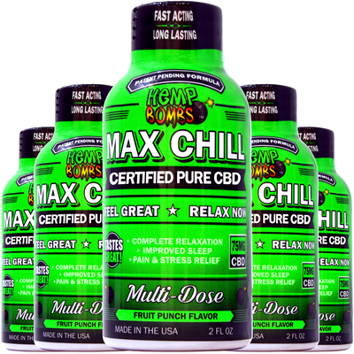 Max Chill CBD Shot 5-Pack HEMP BOMBS | Cáñamo de relajación | Liquid CBD