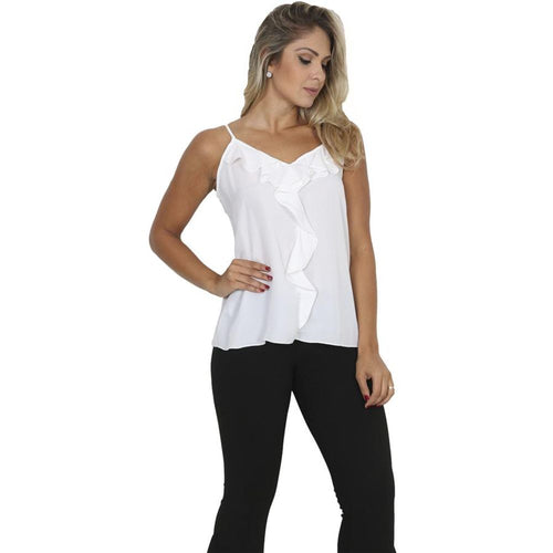 Blusa Decote Ruchas Off White