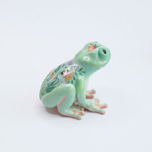 Mint frog with folk flowers
