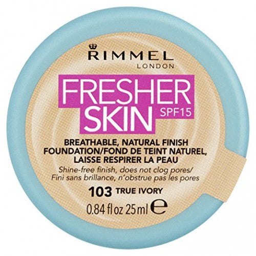 Rimmel Fresher Skin Foundation True Ivory 103 - pack of 3
