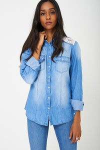 Denim Shirt with Lace Detail