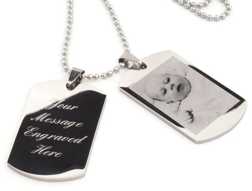 Photo/logo & text engraving / Personalised men's double dog tags, ideal gift  - Ref-DT2