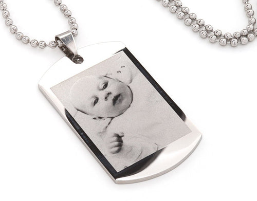 Photo/logo & text engraving / Personalised men's dog tag, ideal gift  - Ref-DTS