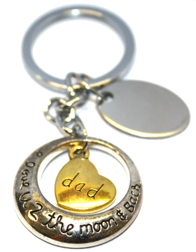 Engraved / personalised metal love u 2 the moon & back (dad) keyring in velvet gift pouch AA105