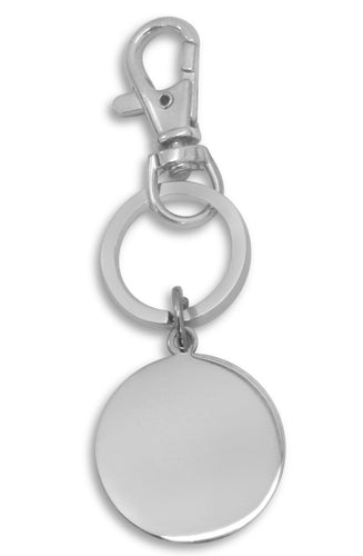 Custom Engraved / personalised keyring with gift pouch - Circle tag - C3-k
