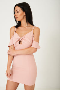 Off Shoulder Dress in Pink Ex Brand