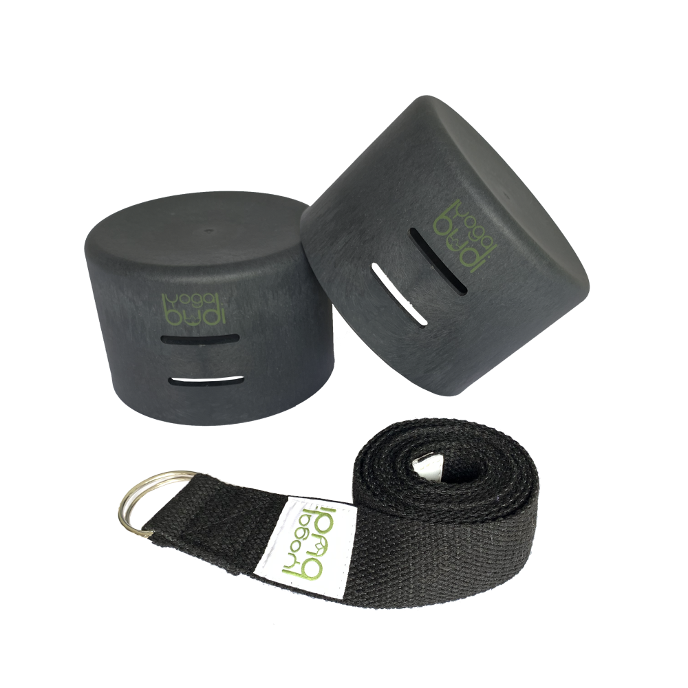 Black Yoga Budi mat holder, strap and yoga blocks