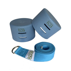 Blue Yoga Budi mat holder, strap and yoga blocks