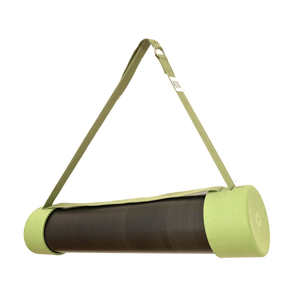Green Yoga Budi mat holder, strap and yoga blocks