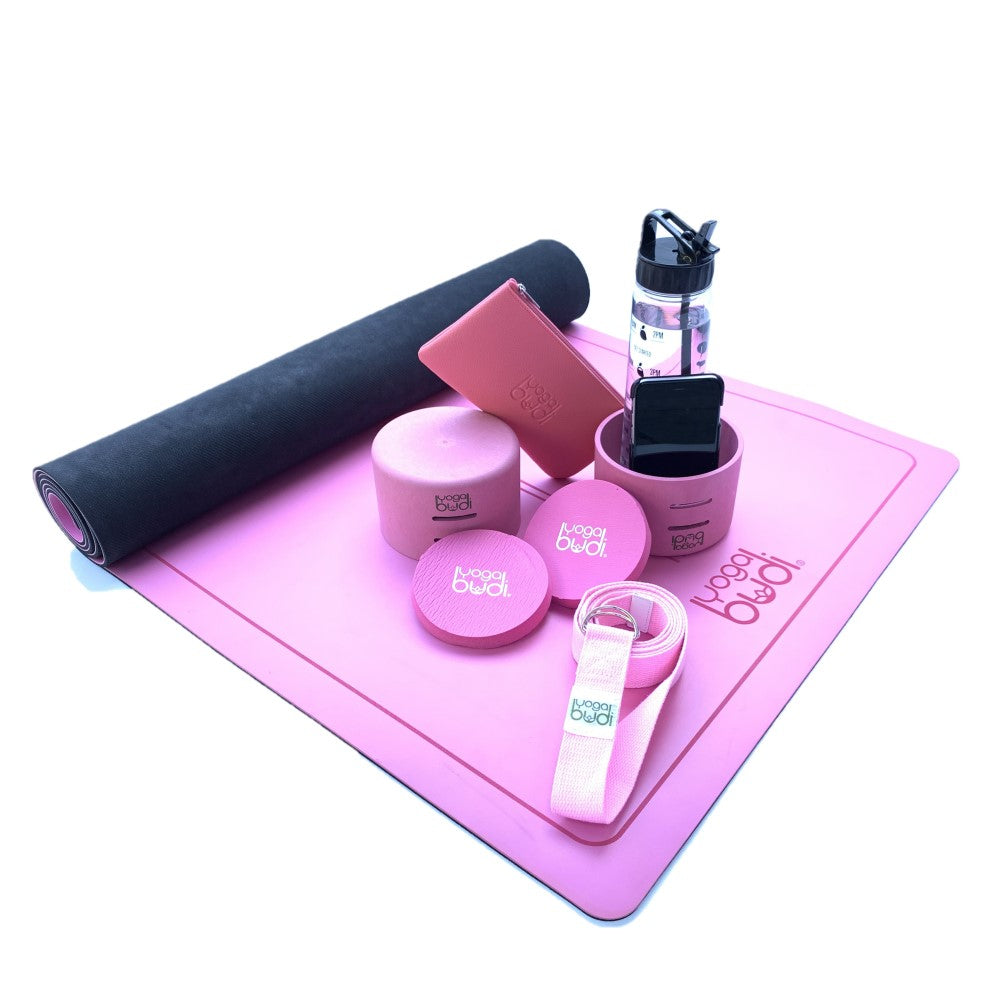 Pink Yoga Budi mat holder, strap and yoga blocks