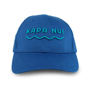 Hemp baseball cap hat branded Kapa Nui in medium blue with light blue lettering