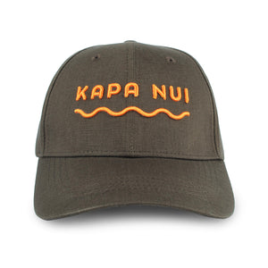 Hemp baseball cap hat branded Kapa Nui in dark brown with orange lettering