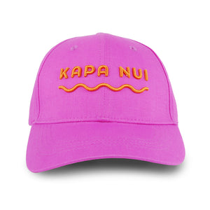 Hemp baseball cap hat branded Kapa Nui in Pink with orange lettering