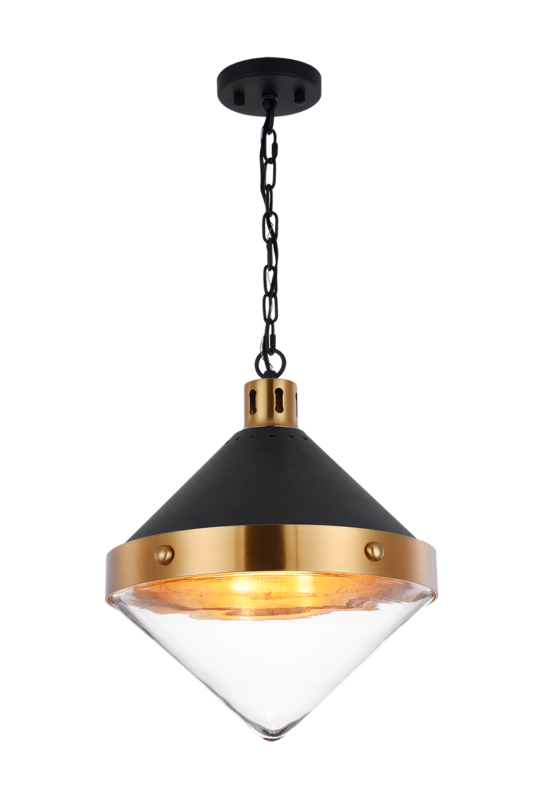 "Sphericon 14"" Matte Black & Aged Gold Brass 