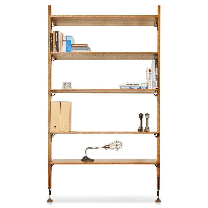 Theo Wall Unit With Large Shelves - Hard Fumed
