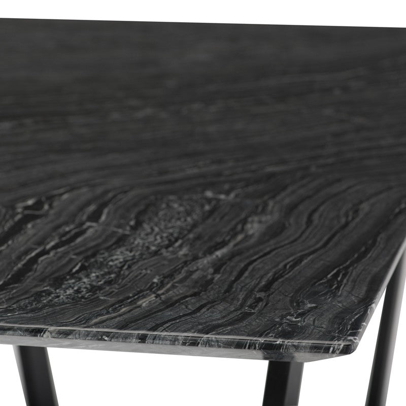 Catrine Dining Table - Black Wood Vein | Matte Black Steel Legs