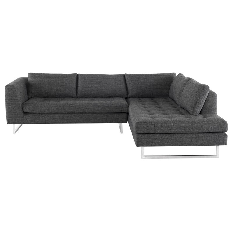 Janis Sectional Sofa-Dark Grey Tweed | Brushed Stainless Steel Legs