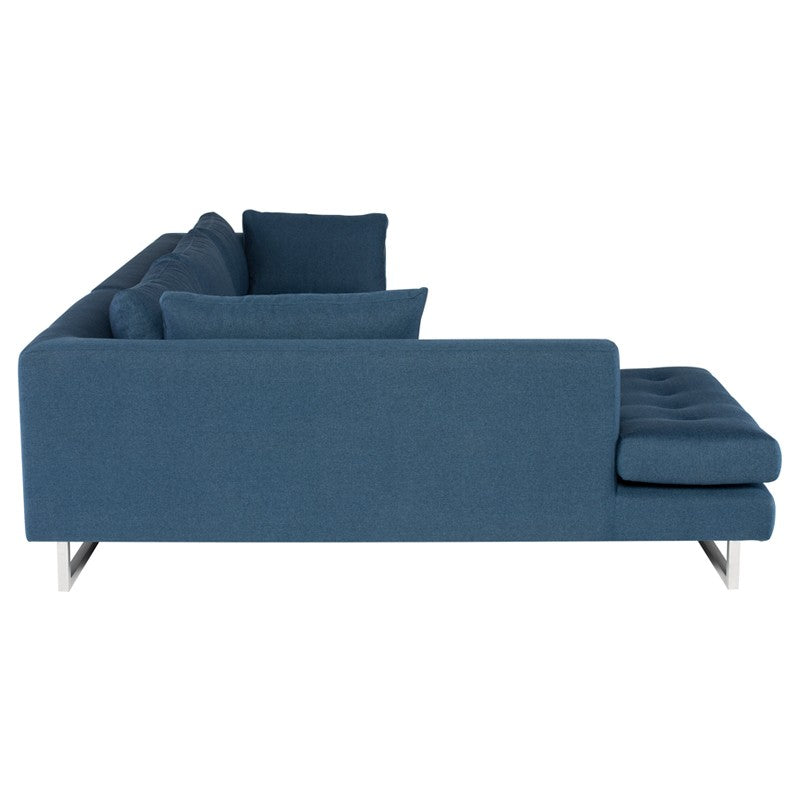 Janis Sectional Sofa-Lagoon Blue | Brushed Stainless Steel Legs