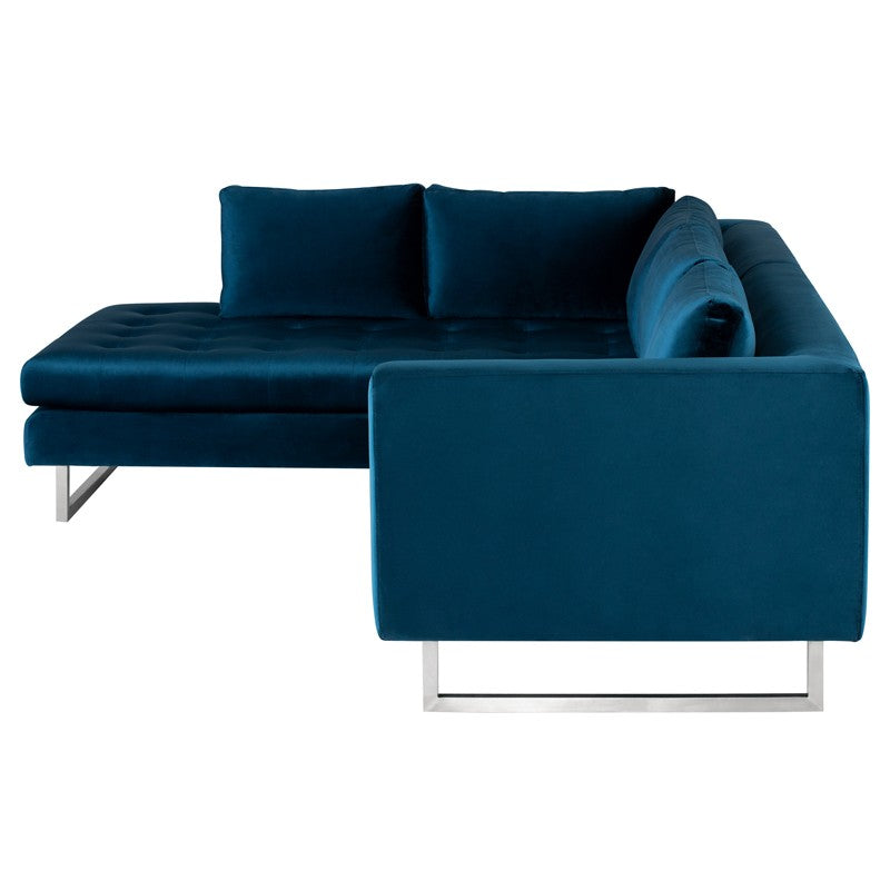 Janis Sectional Sofa-Midnight Blue | Brushed Stainless Steel Legs