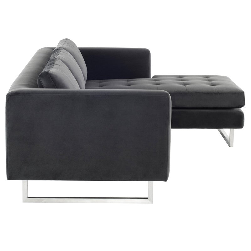 Matthew Sectional Sofa-Shadow Grey  | Brushed Stainless Steel Legs