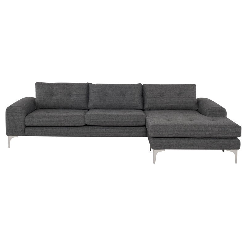Colyn Sectional Sofa-Dark Grey Tweed | Brushed Stainless Steel Legs