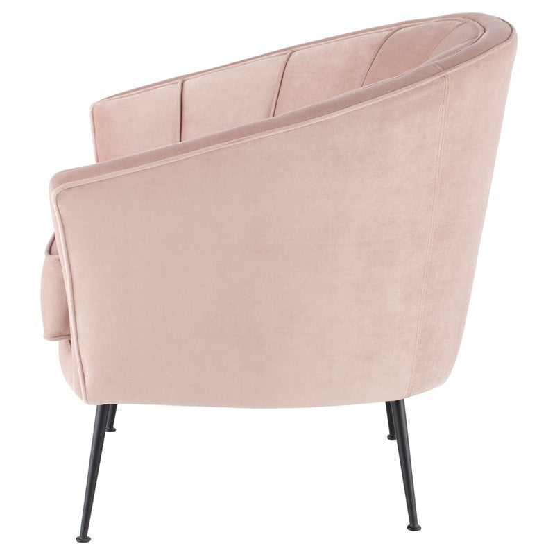 Aria Occasional Chair - Blush | Matt Black Steel Legs